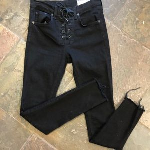 Rag and bone sz 24 skinny with lace up detail